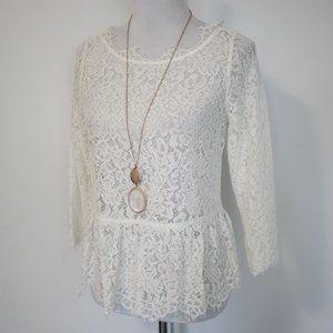 JOIE Medium Blouse Koda Floral Lace Ivory
